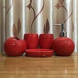 Wash Set De Baño Rojo De Cinco Piezas En Relieve Set De Baño De Cerámica Set De Baño