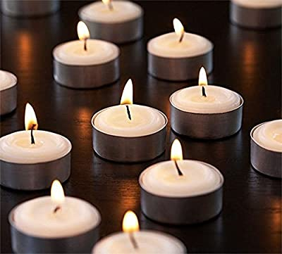 Zion Judaica Quality Tealight Candles Unscented Set of 25, 120 or 200 - Stark White