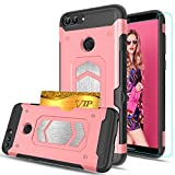 Huawei P Smart Case, Huawei Enjoy 7S Case With HD Phone Screen Protector,Ymhxcy [Card Slots Wallet...