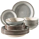MÄSER 931875 Bel Tempo II - Set di piatti per 6 persone, stile vintage, 18 pezzi, servizio da tavola in ceramica dipinta a mano, in gres porcellanato, colore: Blu