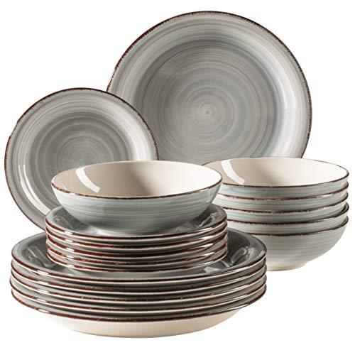 MÄSER 931875 Bel Tempo II - Juego de platos (6 personas, 18 piezas, cerámica, pintados a mano), color azul