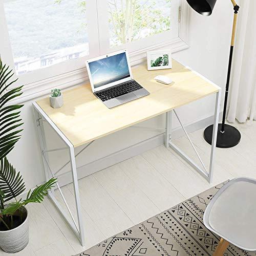 MSmask Schreibtisch Klapptisch Computertisch Einfacher Kleiner Tisch für das Home Office, platzsparend (Hell Eiche-1)