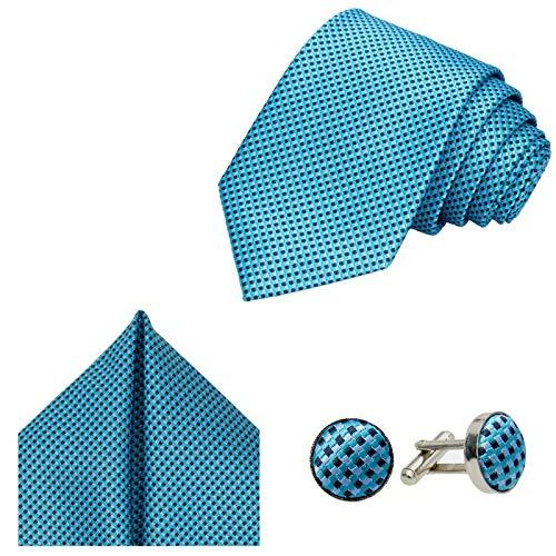 GASSANI Juego de 3 piezas de corbata, pañuelo de bolsillo y gemelos, 7 colores a cuadros Azul petróleo, azul grisáceo y negro. Small