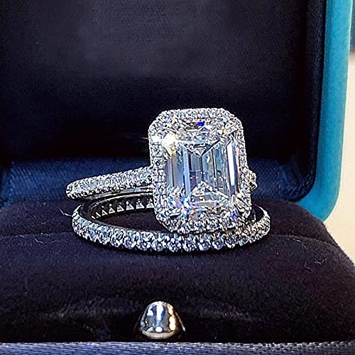 JIUXIAO Anillo de Diamante de Laboratorio deCorte EsmeraldaConjuntos de Novia Plata de Ley 925 Anillo de Boda de Compromiso Anillos de Diamante de Laboratorio para Mujeres Joyas de Gemas Nupciales