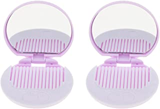 Blesiya 2PCS POCKET HANDBAG MAKEUP COSMETIC MIRROR With COMB TRAVEL FOLDING FOLDABLE - Purple