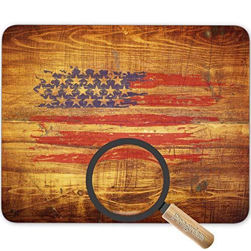 Bandera de Estados Unidos Retro sobre Fondo de Textura de Madera Vintage Alfombrilla de ratón