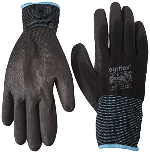 Ogrifox OX-Poliur_Bb9 - Guantes protectores (24 unidades, OX.12.442, pulido), 12 Parejas, color negro