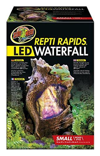 Zoo Med RR-22e ReptiRapids Wasserfall Baum, S, Terrarien Dekoration mit LED und Trinkquelle für Reptilien