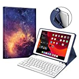 Fintie Keyboard Case for New iPad 7th Generation 10.2 Inch 2019, Soft TPU Back Stand Cover with Built-in Pencil Holder, Magnetically Detachable Wireless Bluetooth Keyboard for iPad 10.2', Galaxy