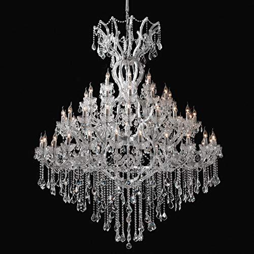 Lámpara de araña de níquel, 60 Luces, 200-270 x 170 cm de diámetro