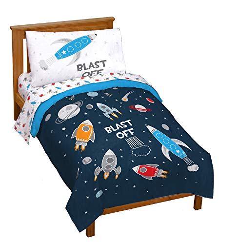 Jay Franco Trend Collector Blast Off 4 Piece Toddler Bed Set - Includes Comforter & Sheet Set - Super Soft Fade Resistant Microfiber Bedding