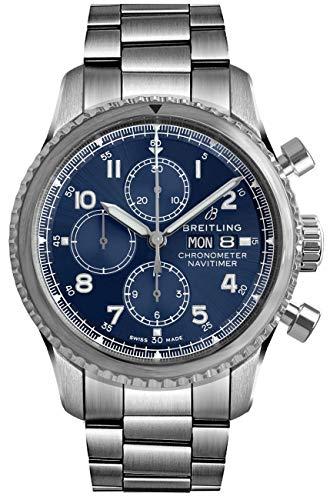 Breitling Navitimer 8 cronógrafo 43 esfera azul cronógrafo reloj de acero - REF: A13314101C1A1