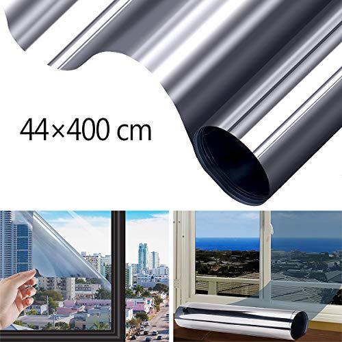 FOCHEA Fensterfolie Selbsthaftend Sonnenschutz Spiegelfolie für Sonnenschutz Fenster Außen und Innen, Sonnenschutzfolie für Schlafzimmer UV-Schutz Silber (44 x 400 cm)