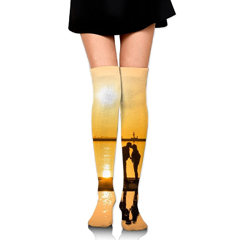 Sunset Couple Kissing At The Seaside Cotton Compression Socks For Women. Graduated Stockings For Nurses, Maternity, Travel, Flight, Pregnancy, Varicose Veins,Running & Fitness, Calf Support.