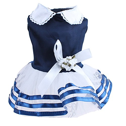 Topsung Pet Puppy Tutu Princess Dress,Striped Lace Bubble Skirt Bowknot Small Cat/Dogs Clothes