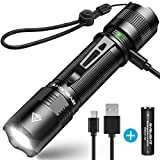 BYBLIGHT Rechargeable LED Torch, Super Bright 800 Lumens Small CREE LED Flashlight, Built-in