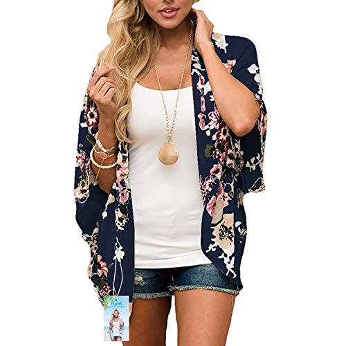 Digitek Direct - Chal de gasa para mujer con estampado floral de gasa, kimono, para cubrir boho de verano, blusa informal de playa, traje de baño Azul Azul marino. S