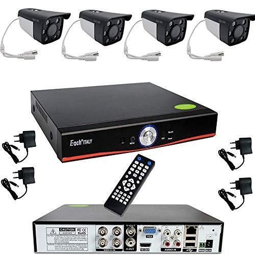 Kit Videosorveglianza Esterno, Sistema di Sorveglianza Cloud DVR AHD 4 Canali + 4x Telecamere AHD + 1xHDD 500GB, Registrazione 24/7, H264, Accesso da remoto