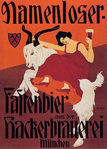 Vintage bieren, wijnen en sterke drank 'Namenloser Bier', Duitsland, 1904, 250gsm Zacht-Satijn Laagglans Reproductie A3 Poster