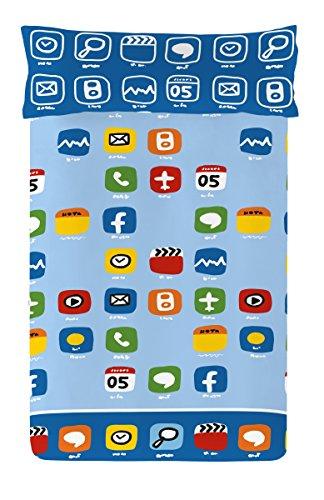 Euromoda Cállate La Boca iPhone Juego de Funda Nórdica, Algodón, Azul, 150 x 220 + 145 x110 cm