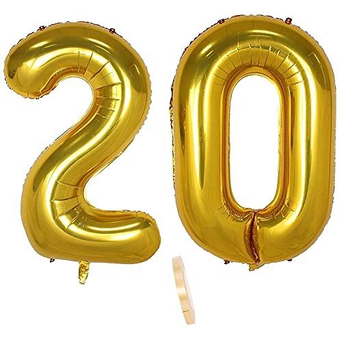 2 globos numeros 20 años, Number globo número 20 Dorado para Hombres...