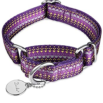 Dazzber Martingale Collar Dog Collar No Pull Pet Collar Heavy Duty Dog Martingale Collars Silky Soft with Unique Pattern for Medium and Large Dogs  Medium 1 Inch Wide Dark Purple & Yellow
