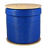 SolidLink - SL610A 1000ft CAT6A S/FTP in-Wall (CMR Rated) UL Listed Bare Copper Solid 23AWG Conductor 550Mhz Fluke Tested Ethernet Wire (Blue)