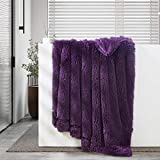 GONAAP Faux Fur Throw Blanket Decorative Super Soft Fuzzy Shaggy Luxurious Cozy Plush Fluffy Long Hair Comfy Microfiber Fleece Reversible for Coach Bed Chair Sofa Purple 50' 60'