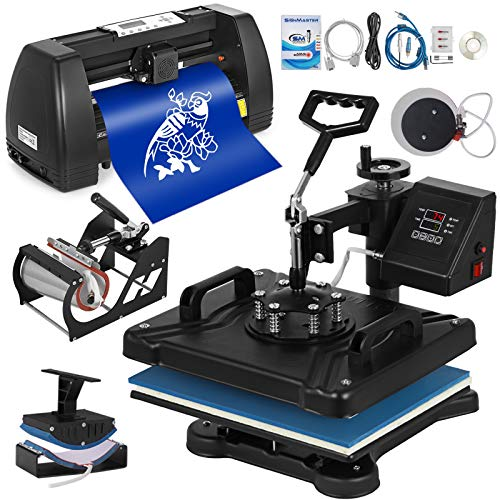 VEVOR 38x30cm Heißpresse maschine 5 In 1 Transferpresse hitzepressemaschine und 375mm Vinyl Cutter Plotter Cutting Plotter Desktop Machine (38x30cm und 375mm)