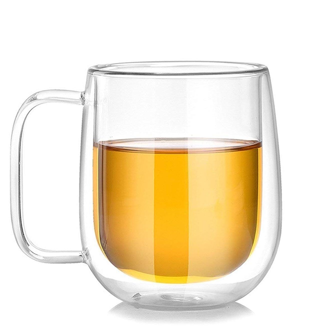 小説家聴く神学校【morningplace】 ダブルウォール グラス マグカップ 二重構造 耐熱 カップ 300ml (1個/)