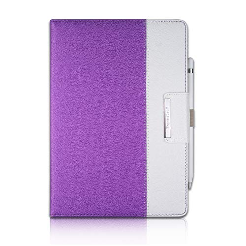 Thankscase Case for iPad 10.2, Rotating Case Leather Cover for iPad 7th Gen with Wallet Pocket, Hand Strap, Pencil Holder and Smart Cover for Apple iPad 10.2 2019 Release.(Victorian Purple)