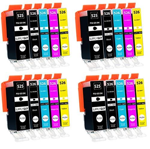 20 Cartuchos de Tinta con viruta Compatible con Canon PGI-525 CLI-526 para Pixma IP-4850 IP-4950 IX-6550 MG-5140 MG-5150 MG-5240 MG-5250 MG-5340 MG-5350 MX-715 MX-885 MX-895