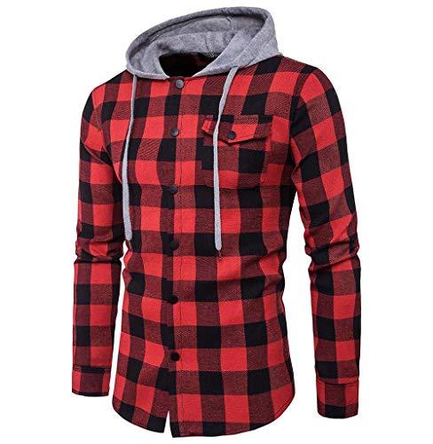 Tomatoa-Herren hemd Kariertes Hemd Langarm Freizeithemd Slim Fit Holzfäller Hemden Hoodie Sweatshirt für Freizeit Business Sweatjacke