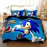 DCWE - Juego de ropa de cama - funda de edredón y funda de almohada, impresión digital 3D Sonic Anime, microfibra, ropa de cama de tres piezas, niños, Snk13., 135*200cm