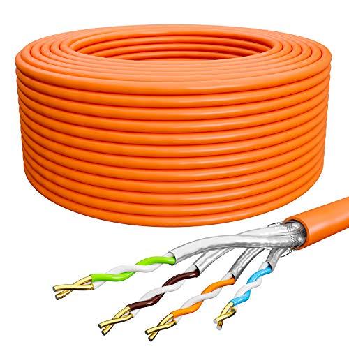 HB-DIGITAL 25m Netzwerkkabel LAN Kabel Verlegekabel Cat 7A AWG 23/1 Orange Cable Ethernet Datenkabel Cat 7 Kupfer Profi S/FTP PIMF LSZH Halogenfrei RoHS-Compliant 10Gbit 1000MHz 10 Gigabit