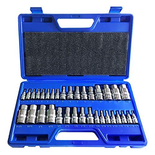 Master Hex Bit Socket Set Allen Wrench Bit Kit Hex Key for Ratchet Socket Tool SAE and Metric Set 3/8, 1/4, 1/2 Drive Socket Set 34-Piece