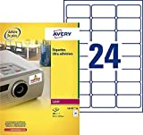 Avery España L6141-20 Caja de 480 etiquetas blanca de poliéster súper adherentes