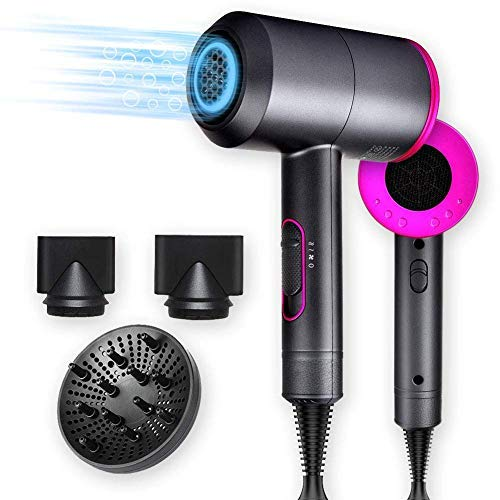 New 2020 Hair Dryer, 1800Watt Professional Salon Negative Ionic Hair Blow Dryer dry with 3 Heat Settings, 2 Speed & One Cool shot Settings, AC Motor with Diffuser, 2 Concentrator Nozzles (Hair Dryer)
