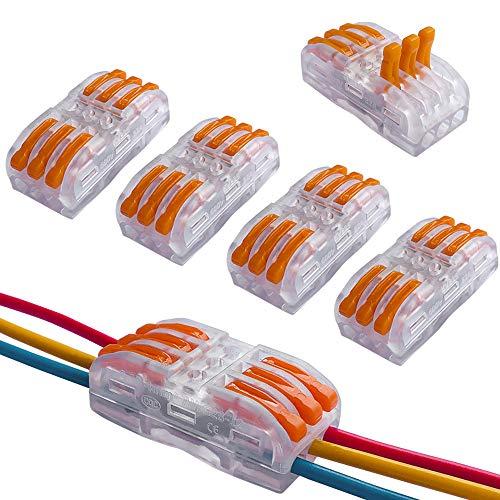 QitinDasen 12Pcs Premium Lever Nuts Verbindungsklemme Set, Bilaterale 6-Loch Transparent Leiter-Klemme kompakten steckklemmen, Compact Conductors Klemmenblock