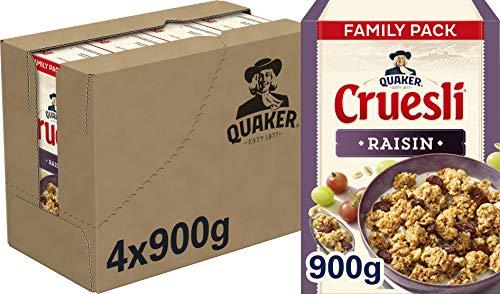 Quaker Cruesli Rozijn, doos 4 stuks x 900g