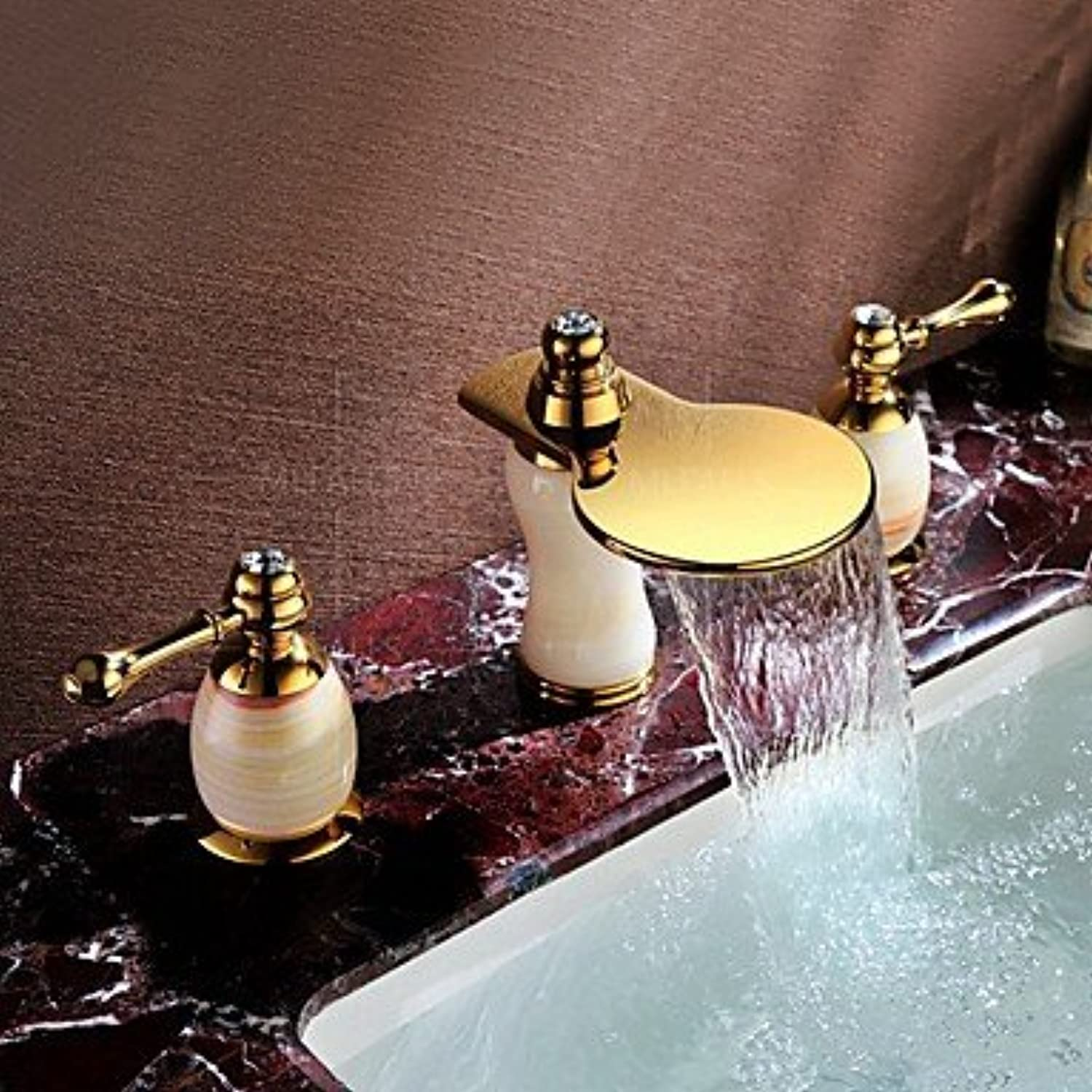 Y&M Faucet£? Universal double bathroom sink faucets in PVD titanium deck three-hole inssizetion