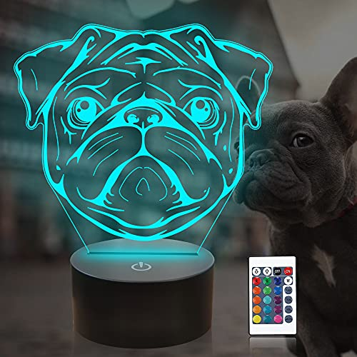 Attivolife French Bulldog 3D Lamp with Remote & Touch Control, Cute Dog Illusion Hologram Bedside Night Light 16 Color Change, Bedroom Decor Creative Christmas Birthday Gift for Kid Child Toddler