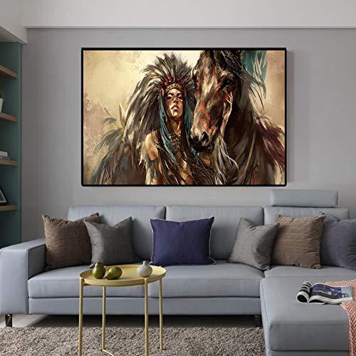 Poster poster poster film comic art canvas olieverfschilderij abstracte inheemse indische paard cinavische woonkamer woondecoratie muurschildering slaapkamer muurschildering (70x95 cm geen frame)