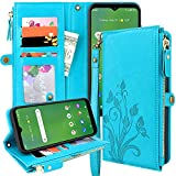 Lacass Premium Leather Flip Zipper Wallet Case Cover Stand Feature with Card Holder and Wrist Strap for LG Stylo 6 (Floral Blue)