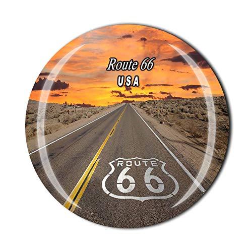 Imán 3D de la Ruta 66 Chicago USA para nevera, recuerdo de viaje, colección de regalo, decoración para el hogar y la cocina (1 unidad)