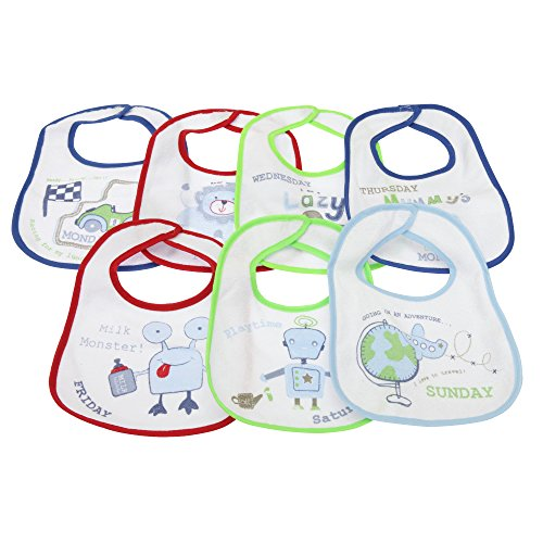 Baberos de bebé con un modelo distinto para cada dia de la semanana Opciones Niño y Niña (Pack de 7 baberos) (0-6 meses/Azul)