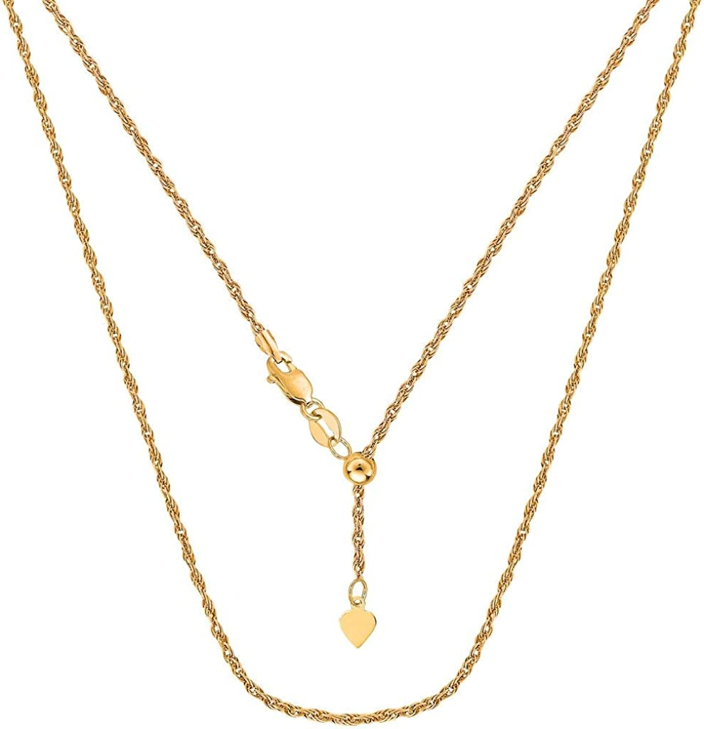 14k SOLID Yellow or White Gold 1.00MM Adjustable Rope Chain Necklace For Pendants And Charms (Adjustable Upto 22