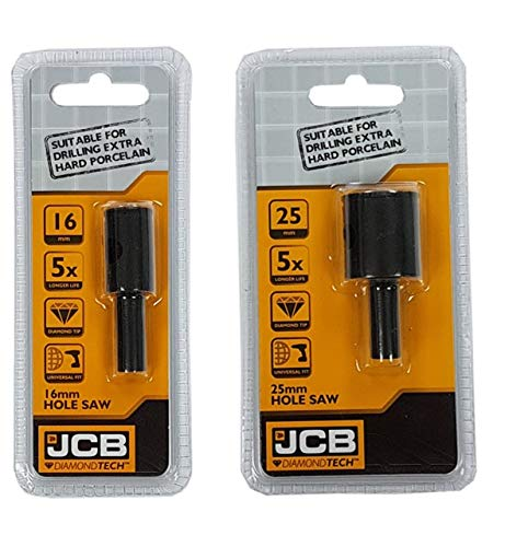 JCB DIAMONDTECH 2 Piece Holesaw Set - Diamond Tipped Drill Hole Saw Kit (16mm and 25mm) - Home Improvements, Core and Soffit Vent Cutting, Concrete, Marble, Worktop, Laminate - Universal Fitting