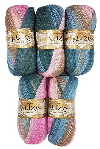 Alize 5 x 100 g Strickwolle Mehrfarbig mit Farbverlauf, 500 Gramm Strickgarn mit 20% Wolle-Anteil (rosa beige Petrol 2970)