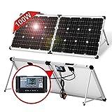 DOKIO Maleta solar portátil plegable monocristalina de 100 W, 12 V, con controlador de carga impermeable